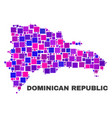 mosaic dominican republic map of square elements vector image vector image