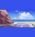 mountain asphalt road with seaview empty highway vector image vector image