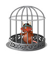 mouse in the cage bares his teeth isolated on vector image vector image