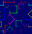 multicolored rhombuses and squares on a blue vector image vector image