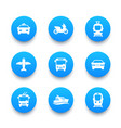 passenger transport icons set bus subway tram vector image vector image