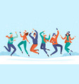 people jump in snow group friends enjoy vector image vector image