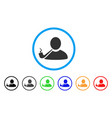 pipe smoker rounded icon vector image vector image