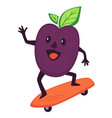 plum skating on board skateboarding sportive vector image