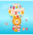 postcard poster a cute leon in a balloon vector image vector image