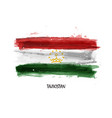 realistic watercolor painting flag tajikistan vector image vector image