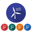 round icon of wind turbine flat style with long vector image vector image