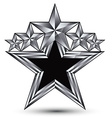 Royal black star with silver outline geometric vector image vector image
