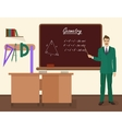 School geometry male teacher in audience class vector image
