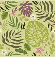 seamless tropical pattern with leaves and flowers vector image vector image