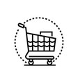 shopping trolley - line design single isolated vector image vector image