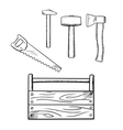 Sketches of toolbox and carpentry tools vector image
