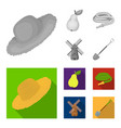straw hat pear with leaf watering hose windmill vector image