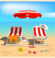 summer recliners and beach umbrella sea vector image vector image