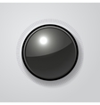 Volume Dial Black Glossy Button vector image