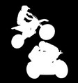 white silhouette of motorcyclist on black vector image vector image