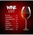 Wine menu card design template list layout vector image vector image