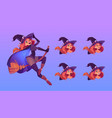 witch flying on broom beautiful redhead woman vector image vector image