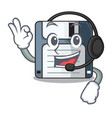 with headphone floppy disk in the writing wallet vector image