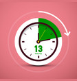13 thirteen minutes clock icon time symbol vector image vector image