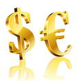 3D dollar and euro sign vector image