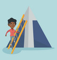african business woman climbing the mountain vector image vector image