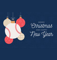 baseball holiday banner merry christmas and happy vector image vector image