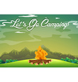 Camping ground with campfire in the field vector image vector image