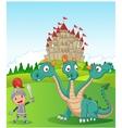Cartoon knight with three headed dragon vector image vector image