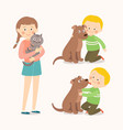 children and pets child lovingly embraces his pet vector image vector image