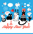 christmas card with cheerful cats vector image vector image
