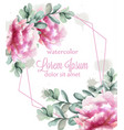 colorful peony flowers frame watercolor banner vector image vector image
