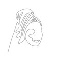 continuous one line woman with a towel on her head vector image vector image