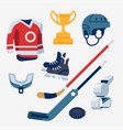 cool ice hockey equipment items collection vector image