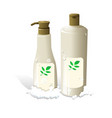Cosmetic hair shampoo realistic bottles packaging