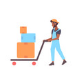 delivery man pushing cardboard boxes on trolley vector image
