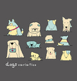 dogs variation doodle pastel on dark grey vector image vector image
