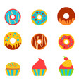 doughnut and cake in a flat style vector image