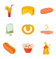 eat on the street icons set cartoon style vector image