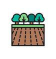 garden landscape flat color line icon vector image vector image