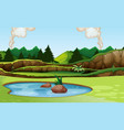 green nature view landscape vector image vector image