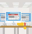 Group of modern computer workstations vector image