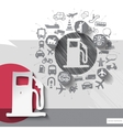 Hand drawn fuel icons with icons background vector image vector image
