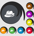 hat icon sign Symbols on eight colored buttons vector image vector image