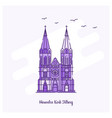 heuvelse kerk tilberg landmark purple dotted line vector image vector image