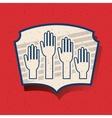 Human hand of vote inside frame design vector image vector image