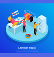 laundry room isometric background vector image vector image