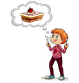 Man thinking of piece of cake vector image