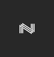 N monogram letter logo overlapping thin line vector image vector image