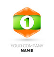 number one logo in the colorful hexagonal vector image vector image
